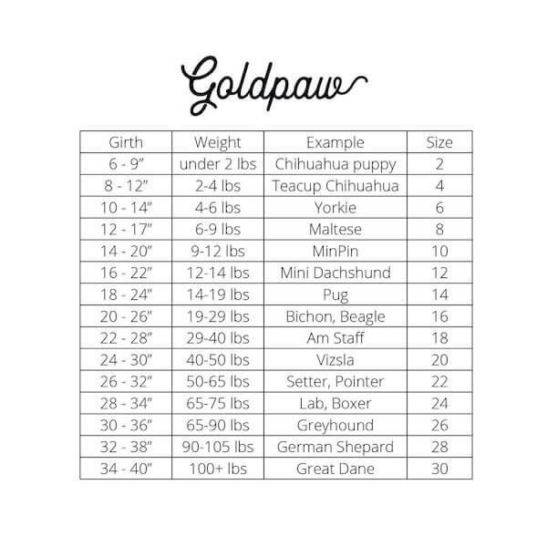 Gold Paw 刷毛衣尺寸表